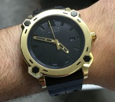Baselworld 2014: Bulova Percheron On The Wrist - the brand's first ever 24k gold watch uses forged gold. 40mm wide, $40k.