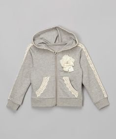 Another great find on Gray Lace-Trim Zip-Up Hoodie - Infant, Toddler & Girls by Just Fab Girls Fashion Kids, Toddler Fashion, Girl Fashion, Cute Outfits For Kids, Toddler Girl Outfits, Toddler Girls, Basic Hoodie, Girl Trends, My Baby Girl