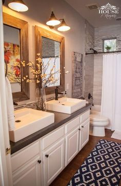 Bathroom farmhouse with cabinets for bathrooms and vanities and wood 36 beautiful farmhouse bathroom design and decor ideas you will go crazy for solutioingenieria Images