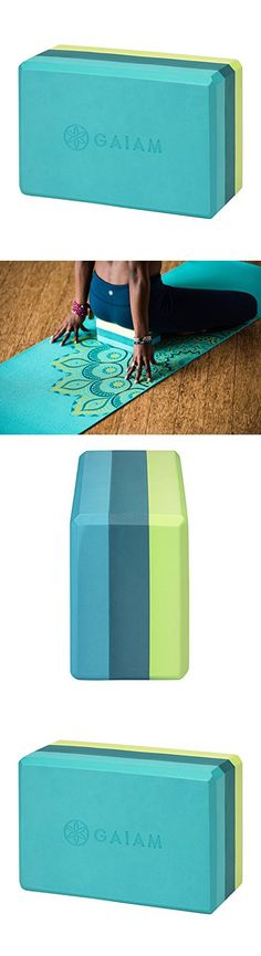Gaiam Yoga Block, Tri-Color Teal Tonal