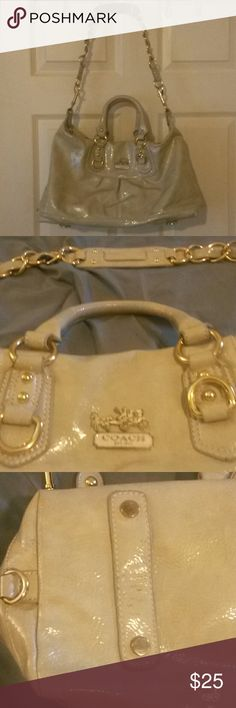 Coach Ashley Pale yellow, paten leather Coach Ashley w/ gold metal accents in good condition. Some scuffs on bottom (pics 3 & 4). Horse & Carriage logo; however, missing Coach scarf and logo fob. Bright green satin interior w/ some stains (pic 6). Has detachable shoulder strap. Bags Satchels