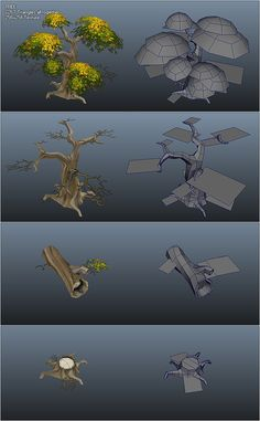 This concept piece shows how the creator made a low poly tree design using various shapes and techniques.