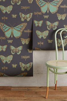 Someday when I have a study/library this will be in it.   Lepidoptera Wallpaper - anthropologie.com