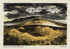 John Piper: 'Tomen-y-Mur and Roman Amphitheatre, North Wales', 1944 (lithograph) Landscape Drawings, Landscape Art, Landscape Paintings, Landscapes, John Piper Artist, Printmaking, British Artists, North Wales, Watercolor Techniques