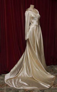 1940s cream shiny silk satin wedding gown with train.