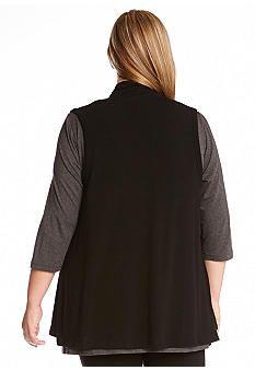 Karen Kane Plus Size Black Drape Vest  | Belk #Plus_Size #Black #Drape #Vest #Plus #Size #Womens #Fashion #KarenKane #Plus_Size_Fashion #Belk