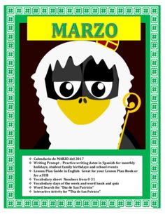 Spanish St Patrick's Day- March Calendar-Interactive San Patricio Activity from mherterma from mherterma on TeachersNotebook.com (5 pages)  - This wonderful and exciting lesson is an amazing way to review days of the week, March holidays and numbers from 0-31 in a single lesson plan.
