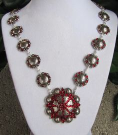 Antique Concho Necklace with Genuine Siam Swarovski Crystals. $89.95 USD, via Etsy.