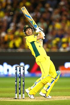 Australian captain Michael Clarke bats during the 2015 ICC Cricket World Cup final match between Australia and New Zealand at Melbourne Cricket Ground on March 2015 in Melbourne, Australia. History Of Cricket, Icc Cricket, Cricket Bat, Cricket World Cup, World Cup Schedule, Cricket Wallpapers, Most Popular Games, Sports Marketing, World Cup Final