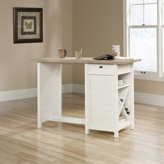 Features:  -Made in the USA.  -Hampton collection.  -Interchangeable door: No.  Product Type: -Kitchen Island.  Base Finish: -White.  Counter Finish: -Lintel oak.  Base Material: -Manufactured wood.