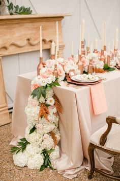 Cascading centerpiece (Floral Design: Anthomanic) - Rose Gold Wedding Ideas by Katelyn James Photography - via ruffled