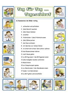 Deutsch - Duits - Wörter - Tagesablauf - Tag - Verben - woorden - werkwoorden - dag - bezigheden