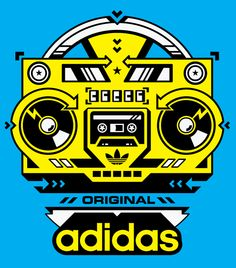 adidas - Boom Box - STUBBORN SIDEBURN. #artwork #music #adidas #boombox #musicart www.pinterest.com/TheHitman14/music-art-%2B/