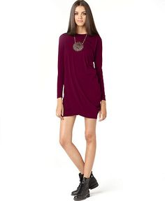 Macy's - Bar III Dress, Long Sleeve Draped Mini    Web ID: 600069  Special Savings - Reg. $59.00  Was $44.99  Sale $39.99 -  Sale ends 3/24/13 Pricing Policy  Bar III's LBD has a chic, draped look to it that transitions seamlessly from day to night!  Rayon/spandex  Hand wash  Made in USA  Crew neckline  Pullover style with no closures  Long sleeves  Draped details at front and back  Unlined  Hits above knee