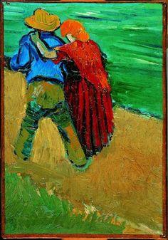 Kleur/kleurcontrast. In deze afbeeldingen zijn twee duidelijk kleuren naast elkaar weergegeven. De man draagt koude kleuren en de vrouw warme kleuren.