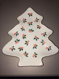 Vintage Lefton Christmas Tree Porcelain Dish Holly Red Bows 02387 Label & Signed