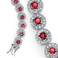 925 Sterling Silver CZ Red Ruby Cubic Zirconia Milgrain Tennis Bracelet