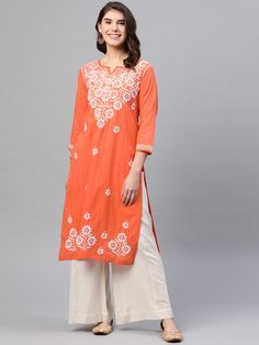 Ada Hand Embroidered Coral Orange Cotton Lucknow Chikankari Kurti – A411167 is readymade prewashed kurti. #Ada #Adachikan #chikankari #handcrafted #kurti #cotton #shoponline