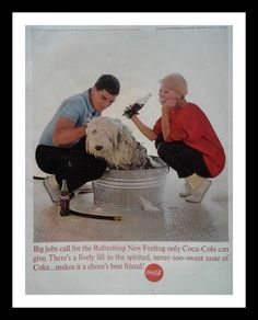 Classic ad for Coke. 13 x 10 Ready for Framing Coke Ad, Dog Wash, Dog Eyes, Young Couples, Shaggy, Coca Cola, Sheep, Pop Art, Classic