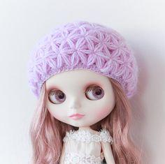 Blythe hat lilac crochet flower hat beret for by RainbowBlytheShop