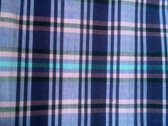 "2.45 Yards X 68"" Lightweight Cotton Dark Purple Pink Teal Plaid Sewing Fabric  #Unknown"
