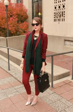 awesome monochromatic outfit in burgundy