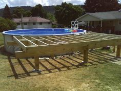 There are a number of ways you'll be able to construct the pool and the deck around it. If you're considering building a pool in the backyard or need to redo the deck, here are a few gr… Wood Pool Deck, Pool Deck Plans, Deck Building Plans, Building A Pool, Above Ground Swimming Pools, Swimming Pools Backyard, In Ground Pools, Decks Around Pools, Oberirdische Pools