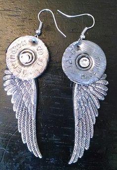 Shotgun Shell earrings, shells that I have shot, I'm turning them into earrings on Etsy, $25.00