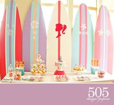 Barbie Mermaid Tale Inspired Birthday Party Decorations - Printable Party Package Surfer Girl Party Decor by 505 Design Paperie