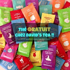 Obtenez votre thé GRATUIT Thés David ( David's Tea ) à Québec ! Pour avoir ce produit gratuit consultez les détails par ici ! Strawberry Colada, Davids Tea, Tea Cafe, Herbal Tea, Lemonade, Herbalism, Alcohol, Restaurant, Sachets