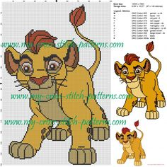 Kion (The lion king) cross stitch pattern - free cross stitch patterns simple unique alphabets baby Disney Cross Stitch Patterns, Cross Stitch Designs, King Craft, Snitches Get Stitches, Minnie Baby, Le Roi Lion, Disney Lion King, Crochet Cross, Cross Stitching