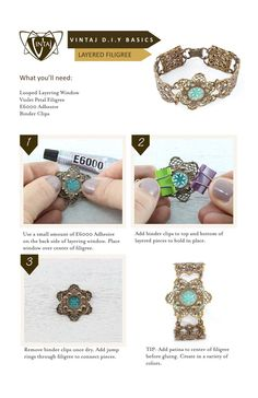 Vintaj DIY Jewelry. Simply patina the center of a filigree, and let the color peek through the layering window to enhance its beauty! Create bracelet focals, decorative connectors, pendants and more!