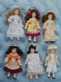 *SOLD* Vintage dollhouse all bisque dolls. Now available in my Ruby Lane store: Kim's Doll Gems
