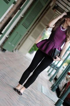 Such a cute outfit! | Tibi Plum Peplum Top - BrightonTheDay Blog