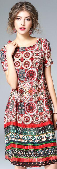 Red Print Short Sleeves Silk Dress