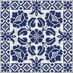 Blue tile Chart for cross stitch or filet crochet. Biscornu Cross Stitch, Cross Stitch Charts, Cross Stitch Designs, Cross Stitch Embroidery, Embroidery Patterns, Cross Stitch Patterns, Bordado Tipo Chicken Scratch, Tapestry Crochet, Knitting Charts