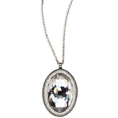 Swarovski Sterling Sliver Oval Pendant Necklace ($100) ❤ liked on Polyvore featuring jewelry, necklaces, swarovski pendants, swarovski jewellery, pendant necklace, swarovski necklace and oval necklace