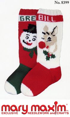 Knit a Christmas stocking using Mary Maxim Worsted Weight yarn.