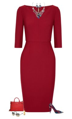 """Red"" by julietajj on Polyvore featuring Roland Mouret, Emilio Pucci, Burberry, Isaac Mizrahi and Swarovski"