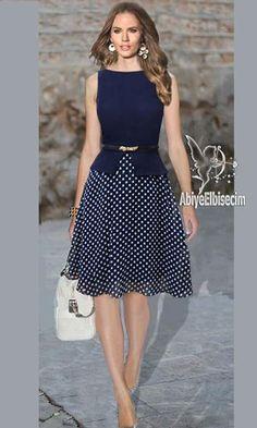bayan elbise puantiyeli şifon elbise,bayan elbise,elbise modelleri,şifon elbise,ucuz elbise,elbise modelleri