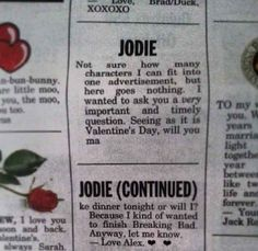 This deeply romantic Valentine's Day personal ad.