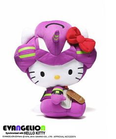 Hello Kitty Plush Toys Cosplays as Evangelion Unit 01