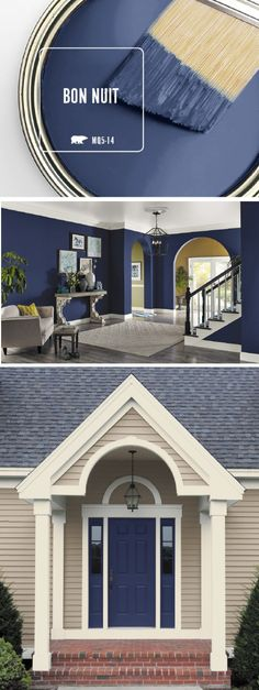 Summer is a time for sleepy nights spent out under that stars. So, it should come as no surprise that BEHR Paint in Bon Nuit is the newest Color of the Month. This dark blue paint color evokes elegance wherever you use it. Whether it's a painted front doo (dark paintings colors) Blue Paint Colors, Paint Colors For Home, House Colors, Navy Paint, Navy Colour, Dark Colors, Front Door Colors, Front Doors, Front Entry