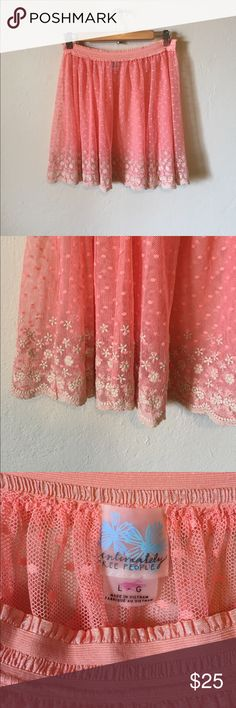 Intimately Free People pink mesh skirt slip Beautiful pink mesh slip with floral trim. Elastic waistband. Excellent condition. Free People Intimates & Sleepwear Chemises & Slips