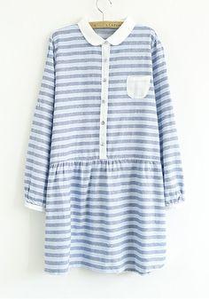 Blue Striped Pockets Puff Sleeve Flax Blend Dress