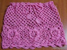 Crochet livre, crochet de fio, saia de miúdo, fácil, tutorial de foto, quadrado de avó