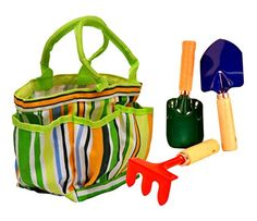 G F 10012 JustForKids Kids Garden Tools Set with Tote hand rake shovel trowel >>> Check this awesome product by going to the link at the image. Small Garden Tools, Garden Power Tools, Garden Tool Shed, Garden Tool Storage, Gardening Tools, Organic Gardening, Garden Kids, Fence Garden, Easter Gifts For Kids