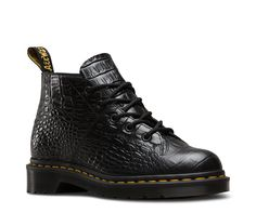 The Dr. Martens Church Boots look is unmistakable, with low-on-the-toe laces, a slender shape and oval stitching. This season, a shiny leather embossed with a faux crocodile print brings a next-level luxury and classic English feel to the closet staple. Made with New Vibrance Croco, a shiny leather embossed with a faux crocodile print Serves up all the traditional Doc's DNA, like grooved edges, yellow stitching and the classic scripted heel-loop  -  want, low.      lj