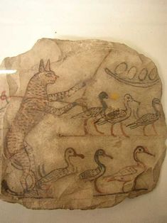 Cat Herding Geese Ostracon 1150BC Dier El Medina Cairo Museum