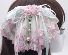 French Lace Fabric Oversized Bow Barrette Sakura mint green